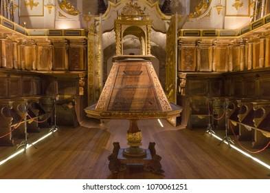 San Millan de la Cogolla, Spain - January 4, 2014: Interior of famous Yuso monastery in San Millan de la Cogolla, La rioja, Spain.