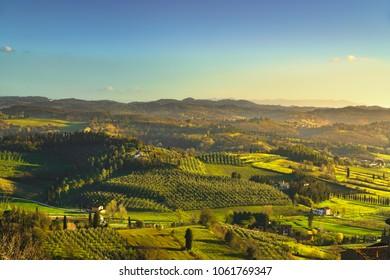 San Miniato panoramic view of countryside at sunset. Via Francigena pilgrim route. Pisa, Tuscany Italy Europe.