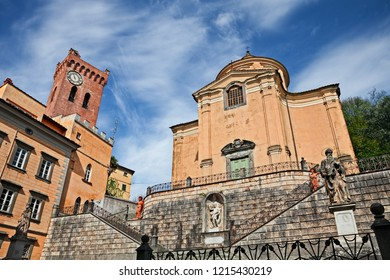 San Miniato, Pisa, Tuscany, Italy: Church of the Holy Cross and medieval tower of Matilda in the ancient Tuscan village