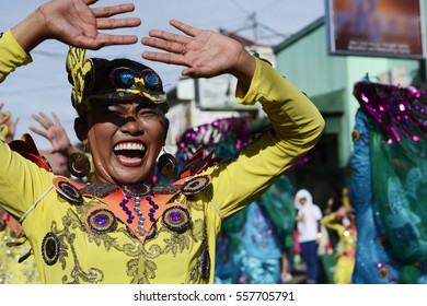 SAN PABLO CITY, LAGUNA, PHILIPPINES - JANUARY 13, 2017: Female Street dancer in colorful coconut costumes participated in celebrating the feast of St. Paul the First Hermit