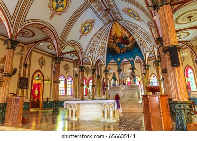 San Pablo, Costa Rica - April 3, 2017:  This beautiful church near San Pablo Costa Rica is a sense of pride in the community, along with the sculpted gardens of San Rafael de Heredia Park