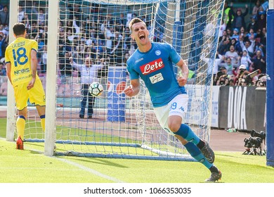 SAN PAOLO STADIUM, NAPOLI , CAMPANIA , ITALY - 2018/04/08: Napoli striker ARKADIUSZ MILIK celebrates after scoring a goal during the Italian Serie A football match SSC Napoli - Chievo Verona
