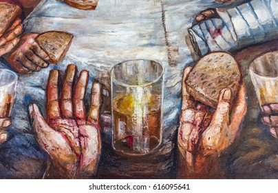 SAN PASTORE, ITALY - CIRCA FEBRUARY 2017 - Hands of Jesus with bread and wine - Detail of the Last Supper (Abendmahl) by Sieger Koeder in refectory of Villa San Pastore in Italy.