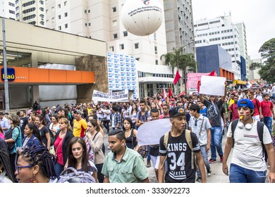 San Paulo, SP, Brazil, October 29, 2015. Teachers and students hold protest against school reorganization, on Paulista Avenue, central Sao Paulo,
