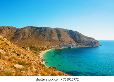 San Pedro beautiful mediterranean beach in Cabo de Gata - Nijar Natural Park, Almeria, Andalusia, southern Spain