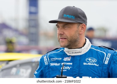SAN PEDRO, CA - SEP 20: Sverre Isachsen rally driver at the Red Bull GRC Global Ralleycross in San Pedro, CA on September 20, 2014