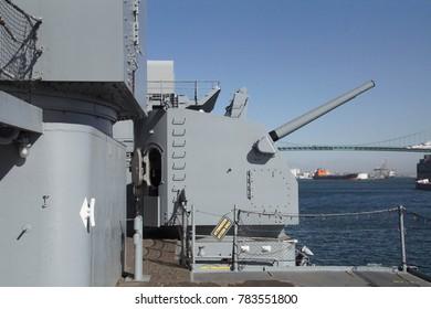 SAN PEDRO, CALIFORNIA - DEC 5, 2017 - Five inch anti-aircraft guns,USS Iowa BB-61, San Pedro, California