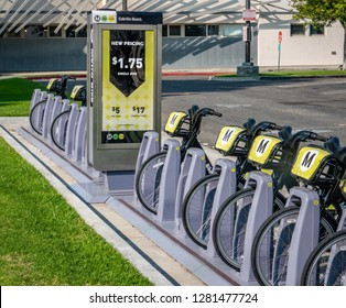 San Pedro, California - November 11, 2018: Metro Bike Share is a bicycle sharing system in the Los Angeles metropolitan and surrounding areas.  New pricing includes a single ride for $1.75.