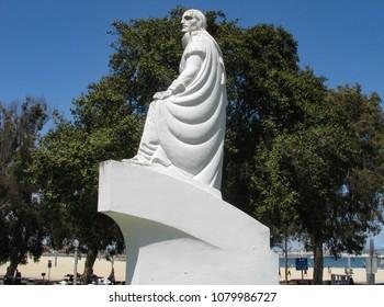San Pedro, California USA - April 29, 2018: Statue of Juan Rodriguez Cabrillo at Cabrillo State Beach, Los Angeles, by artist Henry Lion, 1936 in cast concrete. A depression era Federal Art Project.
