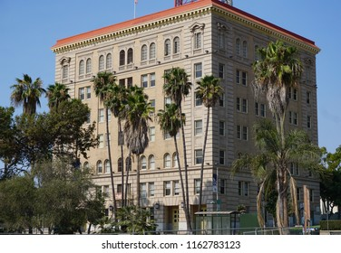 San Pedro, California USA - August 9, 2018: San Pedro Municipal Building or City Hall, viewed from the harbor side. Beaux Arts style, 1928 on S. Beacon St., includes a jail and courtrooms.