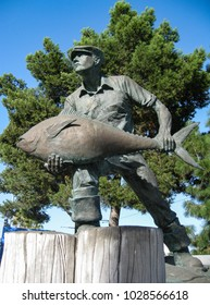 San Pedro, California USA - February 11, 2018: The Fishing Industry Memorial at the Port of Los Angeles commemorates the historic role of fisheries, canneries and fishermen