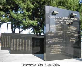 San Pedro, California USA - February 11, 2018: Merchant Marine Veterans Memorial at the Port of Los Angeles. Granite plinths pay homage to merchant seamen lost in the line of duty.