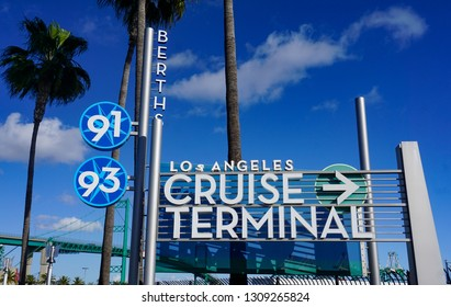San Pedro, California USA - February 5, 2019: Entrance sign for the Port of Los Angeles Cruise Terminal at Berth 91 and Bert 93, a major hub for west coast cruise ship travel