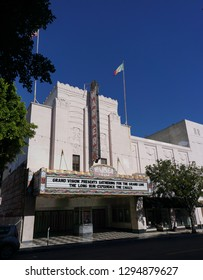 San Pedro, California USA - January 24, 2019: Warner Grand Theatre in downtown in the Los Angeles area city, classic Moderne structure, opened 1931. 478 W 6th Street