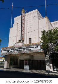 San Pedro, California USA - January 24, 2019: Warner Grand Theatre in downtown in the Los Angeles area city, a classic Moderne structure, opened 1931. 478 W 6th Street