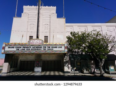 San Pedro, California USA - January 24, 2019: Warner Grand Theatre in downtown in the Los Angeles area city with its impressive marquee, opened 1931. 478 W 6th Street