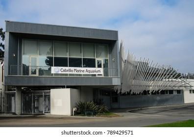 San Pedro, California USA - January 7, 2018: Cabrillo Marine Aquarium sea life displays include live exhibits, promotes conservation, education, ecology, ocean science. Frank Gehry, architect.