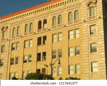 San Pedro, California USA - June 18 2018: San Pedro Municipal Building west facade, also called City Hall, built in Beaux Arts style in 1928 at 638 S. Beacon St.