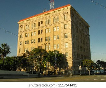 San Pedro, California USA - June 18 2018: San Pedro Municipal Building, also called City Hall, built in Beaux Arts style in 1928 at 638 S. Beacon St., includes a jail and courtrooms