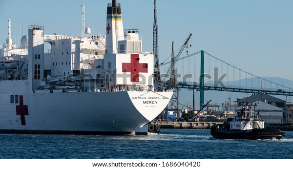 SAN PEDRO, CALIFORNIA USA: March 27, 2020. U.S Navy hospital ship USNS Mercy arriving at the Port of Los Angeles with 1000 hospital beds for non Coronavirus COVID-19 patients during the pandemic