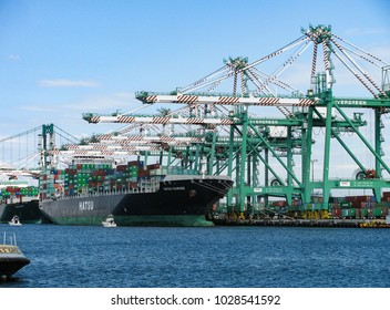 San Pedro, California USA - October 3, 2011: Oceangoing container ships at a freight terminal in the main channel of the Port of Los Angeles being loaded by tall crane gantries