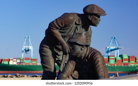 San Pedro, California USA - October 13, 2018: The Japanese Fishing Village Memorial on Terminal Island beside the Port of Los Angeles harbor honors residents seized and imprisoned in WWII.