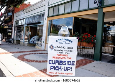 San Pedro, CA/USA - March 28, 2020: Local restaurant, Compagnon's open for curbside take out and delivery in San Pedro, CA