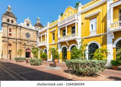 San Pedro Claver church in Cartagena de Indias, Colombia. Colonial architecture of South America.