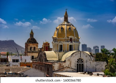 The San Pedro Craver church dome view, colonial architecture seated in the center of walled historical center