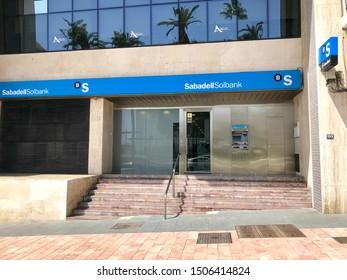 San Pedro de Alcantara, Malaga / Spain - 08 08 2019: Sabadell bank entrance in Marbella Spain, financial establishment in the city center