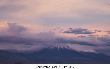 San Pedro de Atacama, chile - volcano at sunset