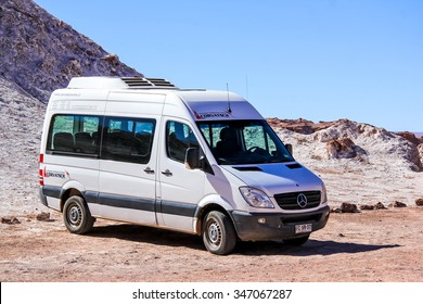 SAN PEDRO DE ATACAMA, CHILE - NOVEMBER 17, 2015: Passenger van Mercedes-Benz Sprinter in the Atacama desert.