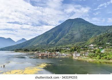 San Pedro de la Laguna, Guatemala â?? June 6, 2015: The water level of Lake Atitlan rose by tens of metres a few years ago, submerging many homes and buildings close to the water's edge.