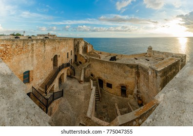 San Pedro de La roca fort inner yard and walls, sunset view, Santiago De Cuba, Cuba, November 2017