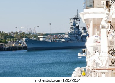 San Pedro, Port of Los Angeles, California/USA - October 13, 2019: USS Iowa (BB-61) retired battleship. View from inside a Cruise Ship.