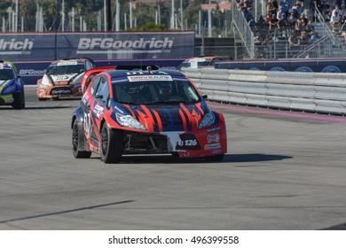San Pedro, USA - October 8, 2016: Alejandro Fernandez 126, drives a GRC Lites car, during the Red Bull Global Rallycross Championship Port of Los Angeles.