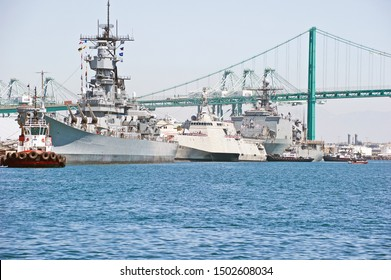 "SAN PEDRO/CALIFORNIA - AUG. 27, 2019: The USS Iowa, USS Tulsa and USS Comstock docked at Los Angeles Harbor to celebrate ""Fleet Week"". San Pedro, California USA"