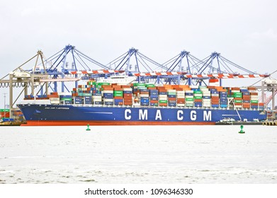 SAN PEDRO/CALIFORNIA - MAY 13, 2018: The CMA C'GM is a container ship sailing under the flag of Portugal. Docked and being unloaded in San Pedro, California USA