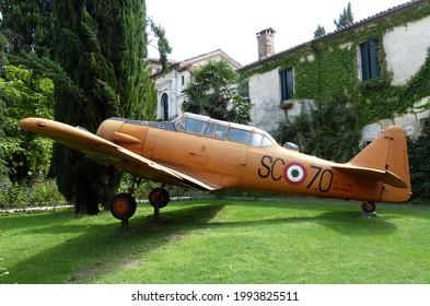 San Pelagio - Padova, Italy - August 16, 2014: Castello di San Pelagio. Museo dell'aria. Italian air museum. North American T-6 Texan