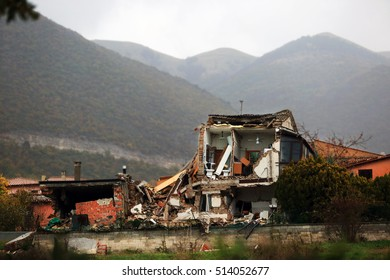 San Pellegrino di Norcia , Italy - November 6, 2016:  House destroyed by the powerful  earthquake  of magnitude 6.5 that  has struck central Italy on October 30, 2016.