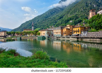San Pellegrino Terme in the province of Bergamo in northern Italy. The area of the parish church. On the river brembo