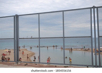 San Pietro in Bevagna, Italy - September 02, 2020 : Tourists at San Pietro beach
