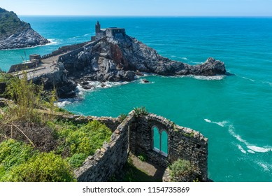 San Pietro Church view from Doria castle, Portovenere, Italy