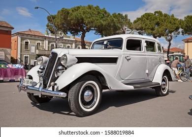 San Pietro in Vincoli, RA, Italy - April 28, 2013: vintage american car Studebaker President (1935) in classic car meeting Raduno auto e moto d'epoca