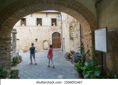 San Quirico di Orcia in Orcia valley Tuscany on July 7, 2019 Italy. Spedale della scala old hospital.