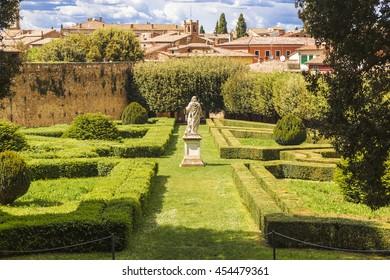 SAN QUIRICO D'ORCIA, ITALY - MAY 14, 2014: Italy, Tuscany region, San Quirico. Famous Italian garden of Horti Leonini