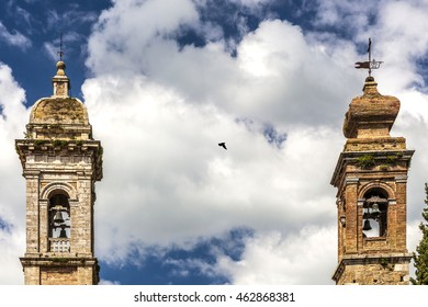 San Quirico D'Orcia, Italy, Tuscany region, Two towers with dove
