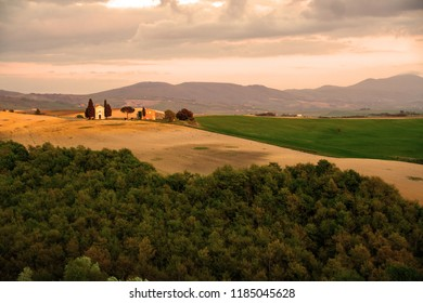 At San Quirico dìOrcia - Italy  -'On april 2018 - the little church of Vitaleta in Val d'Orcia, Tuscany