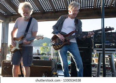 San Rafael, CA/USA - 5/3/17: Bob Weir and Phil Lesh of the Grateful Dead perform at Terrapin Crossroads. Both were inducted into The Rock and Roll Hall of Fame as a member of the Grateful Dead.