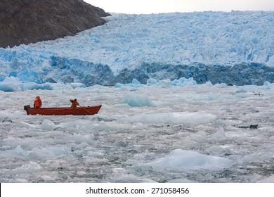 The San Rafael Glacier in Laguna San Rafael National Park in the Northern Patagonian Ice Field in southern Chile, South America. It calves into the Laguna San Rafael.